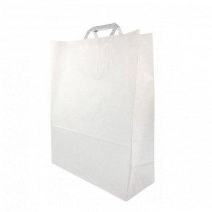 Пакет бумажный белый с плоской ручкой в 4-х размерах 80г/м2