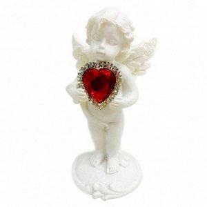 """Фигура """"Ангел"""" белый с красным сердечком размер 5*4*10см"""