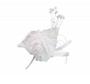 Бутоньерка роза перламутровая с бусинами размер Н-15см