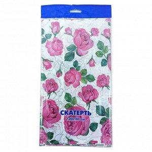 """Скатерть полиэтиленовая 120*180см """"Розовые розы"""""""