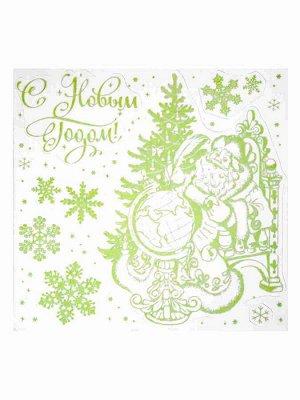 Новогоднее оконное украшение Дедушка Мороз со списком, 30x29