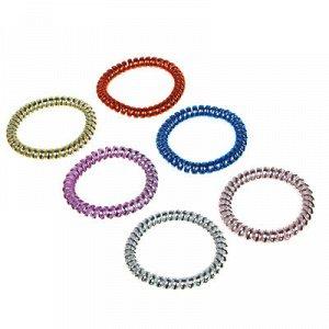 BERIOTTI Набор резинок для волос Спиралька, 6шт, пластик, 5,5см, 6 цветов, арт.17