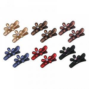 BERIOTTI Набор зажимов для волос 2шт, пластик, металл, 3,5см, 6 цветов, 4462-27