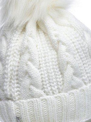 JAGGA /  Вязаный зимний комплект Малина: вязаная шапка женская зимняя с помпоном, варежки и снуд