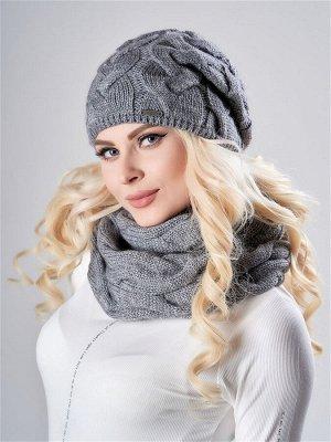 JAGGA /  Вязаный зимний комплект Тюльпан: вязаная шапка женская зимняя и вязаный снуд