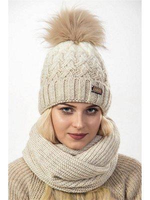 JAGGA /  Вязаный зимний комплект Нейна с градиентом: вязаная шапка женская зимняя с помпоном и вязаный снуд