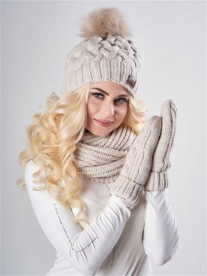 JAGGA /  Вязаный зимний комплект Марина с градиентом: вязаная шапка женская зимняя с помпоном, варежки и снуд