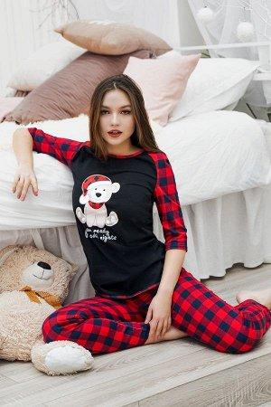 Пижама с брюками ПЖ 020 (Мишка/красная клетка)