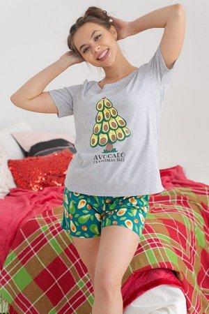 Пижама с шортами ПЖ 018 (Ёлка из авокадо)