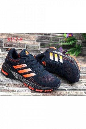 Женские кроссовки 8117-8 темно-синие с оранжевым