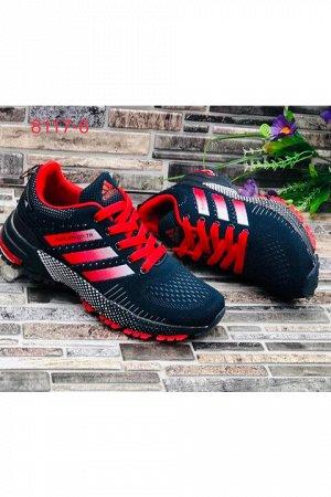 Женские кроссовки 8117-6 темно-синие с красным