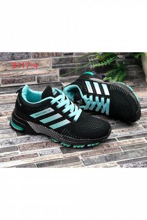 Женские кроссовки 8117-4 черно-мятные