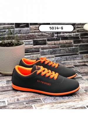 Женские кроссовки 5014-8 темно-серые с оранжевым