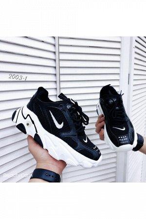 Женские кроссовки 2003-1 черно-белые