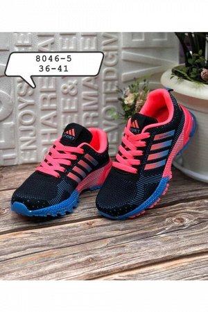 Женские кроссовки 8046-5 черно-розовые