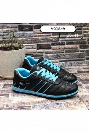 Женские кроссовки 5016-4 черно-голубые