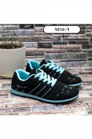 Женские кроссовки 5016-3 черно-мятные