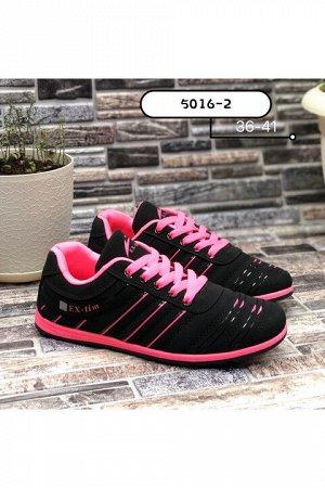 Женские кроссовки 5016-2 черно-розовые