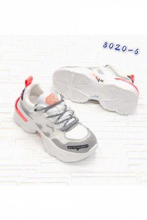 Женские кроссовки 8020-6 бело-серые