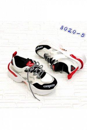 Женские кроссовки 8020-5 черно-белые