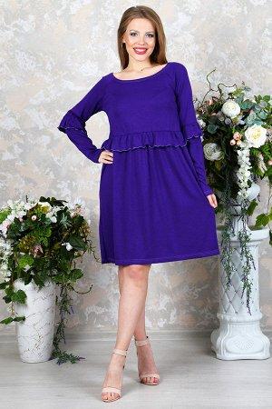 Платье свободного силуэта с рюшами П 217 (Фиолетовое)