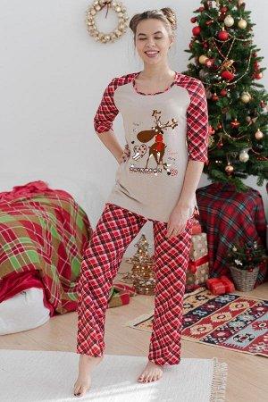 Пижама с брюками ПЖ 020 (Веселый олень/Красно-черная клетка)