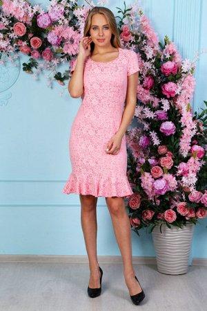 Жаккардовое платье с воланом П 220 (Розовое)
