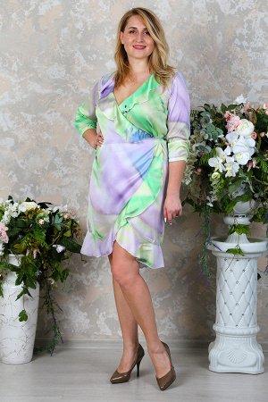 Атласное платье П 186 (Зелёная акварель)