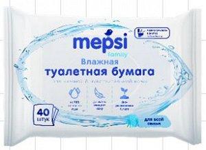 Влажная туалетная бумага для всей семьи MEPSI Family, 40 шт. НОВИНКА