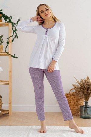 Пижама для беременных 05-648 (Бело-фиолетовый)
