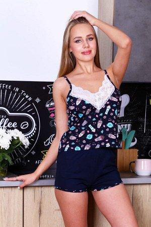 Пижама с кружевом ПЖ 002 (Темно-синяя)