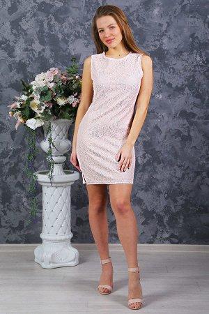 Платье футляр П 183 (Нежно-розовое)