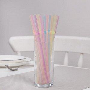 Трубочки одноразовые для коктейлей, 0,5?21 см, 100 шт, неоновые, с гофрой, цвет МИКС