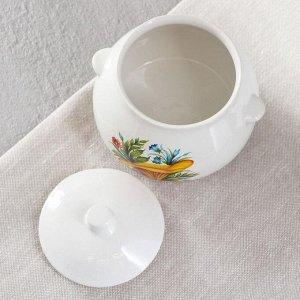 Горшок для запекания белый, с деколью, 0.6 л, микс