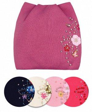 Шапка для девочки на флисовой подкладке Цвет: сиреневый