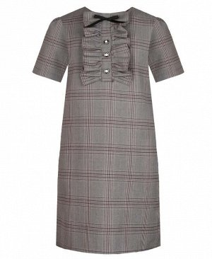 Школьное серое платье в клетку для девочки Цвет: серый