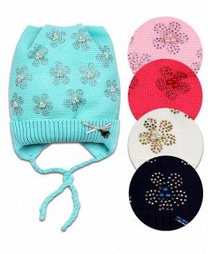 Шапка для девочки на подкладе Цвет: синий