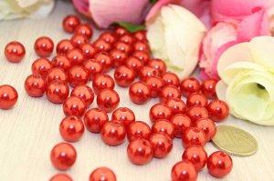 Бусины под жемчуг (красный), 10мм в упаковке 25 шт.