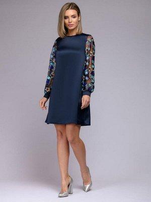 Платье синее свободного силуэта с вышивкой на рукавах