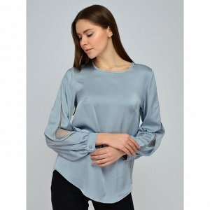 Блуза серая с кружевной вставкой на рукавах