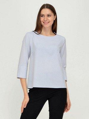 Блуза серо-голубая в горошек с широкими манжетами