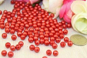 Бусины под жемчуг (красный), 8мм в упаковке 50 шт.