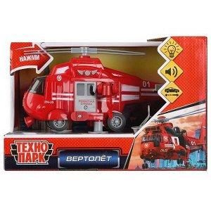 Вертолет Технопарк Пожарный свет, звук, подвижные детали, инерция, 21см4