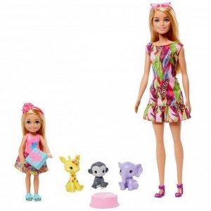 Игровой набор Mattel Barbie кукла Барби и Челси с питомцами жираф, слон и обезьянка8
