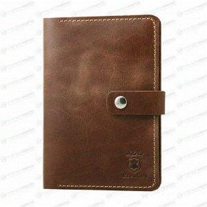 Бумажник водительский Premier с отделением для карт и паспорта (5 карманов), из темно-коричневой натуральной кожи (пулап, винтаж), с хлястиком, арт. О-910 (№152)
