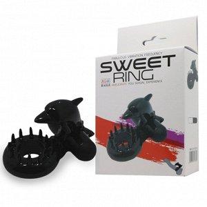 Эрекционное вибро-кольцо с клиторальным массажером Sweet Ring