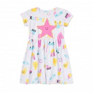 К 5687 к1258 Платье для девочки (св.серый меланж,парк развлечений)