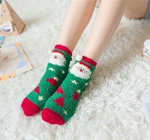 Плюшевые носочки Санта, в ассортименте