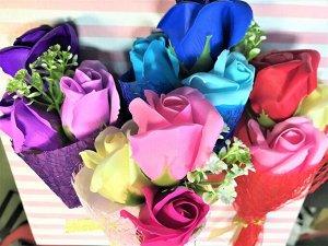 Букет роз из мыла в прозрачном боксе
