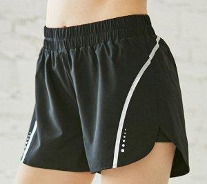 Женские спортивные шорты с высокой посадкой на резинке, цвет черный/серебряный